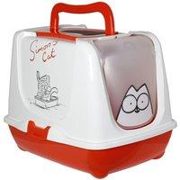 Simons Cat Hooded Filter Litter Tray - Red & White