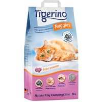 Tigerino Nuggies Cat Litter Coarse-Grained, Babypowder Scented - Economy Pack: 2 x 14l