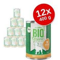 zooplus Bio 12 x 400 g comida ecológica para perros - Pack Ahorro - Pato ecológico con boniato ecológico