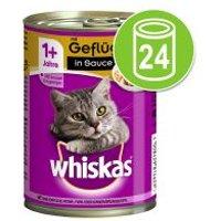 Whiskas 1+ años en latas 24 x 400 g - Pack Ahorro - Pack mixto en salsa: ave, vacuno e hígado