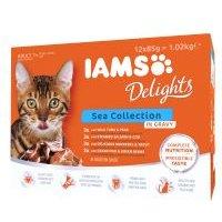 IAMS Delights Adult en salsa 12 x 85 g - Mezcla de la tierra y el mar