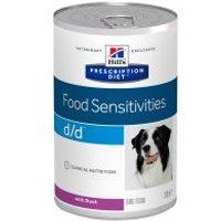 Hill's d/d Prescription Diet Food Sensitivities latas para perros - Pato - 24 x 370 g - Pack Ahorro