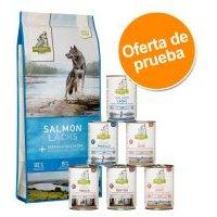 Isegrim Adult 12 kg pienso + 6 x 400 g comida húmeda - Pack mixto - 12 kg Green Hills con pato + 6 x 400 g