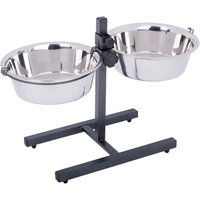 Dog Bowl Stand with 2 Stainless Steel Bowls - 2 x 2.8 litres