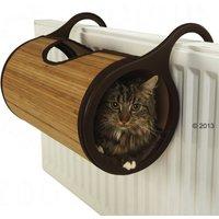 Jolly Moggy Cat Radiator Bed - Brown Bamboo - Diameter 26 x L 47 cm