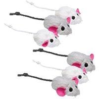 Lot de 6 souris en peluche Trixie pour chat - lot de 6 souris