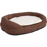 Oval Memory Foam Dog Bed - Brown - 100 x 65 x 24 cm (L x W x H)