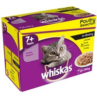 Whiskas 7+ Senior Pouches in Gravy - 12 x 100g Fish & Meat Selection