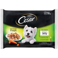 Cesar Pouches Deliciously Fresh Selection In Jelly - 4 x 100g