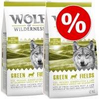 Wolf of Wilderness 2 x 12 kg - Pack Ahorro - Junior Green Fields con cordero