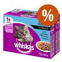 Whiskas en bolsitas  96 x 85/100 g - Megapack Ahorro - Casserole Selección de clásicos en gelatina 1+ (96 x 85 g)
