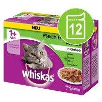 Whiskas 1+ años 12 x 85/100 g en bolsitas - Selección de pescados en gelatina (12 x 100 g)