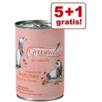 5 + 1 gratis! Greenwoods Nassfutter für Frettchen Rind & Huhn - 6 x 400 g