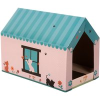 XL Cat Den with Scratching Pad - 58 x 36 x 41 cm (L x W x H)