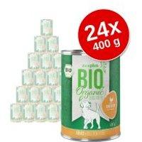 zooplus Bio 24 x 400 g comida ecológica para perros - Pack Ahorro - Pavo ecológico con calabaza y calabacín ecológicos