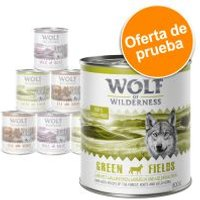 Pack de prueba Wolf of Wilderness 300 g/ 400 g / 800 g - 6 x 300 g en tarrina: pavo, vacuno, cordero y pato
