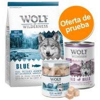 Pack de prueba mixto Wolf of Wilderness: pienso + comida húmeda + snacks - Variante III - Blue River