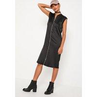 MissguidedBlack Zipped Satin Midi Dress, Black