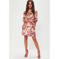 MissguidedNude Floral Velvet Flare Sleeve Dress, Beige