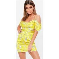 MissguidedYellow Floral Print Cold Shoulder Dress, Yellow