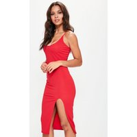 MissguidedRed Strappy Scoop Neck Midi Dress, Red
