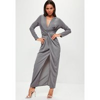 MissguidedGrey Wrap Front Shirt Maxi Dress, Grey