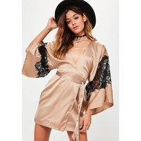 MissguidedNude Silky Kimono Lace Insert Shift Dress, Pink