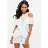 MissguidedWhite Lace Ruffle Detail Bodycon Dress, White
