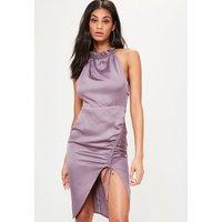 MissguidedPurple Silky Ruched Midi Dress, Purple