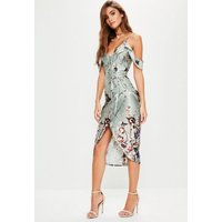 MissguidedGrey Frill Floral Midi Dress, Grey