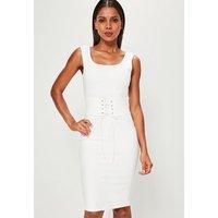 MissguidedWhite Corset Belt Midi Dress, Cream