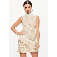 MissguidedNude High Neck Lace Frill Detail Dress, White