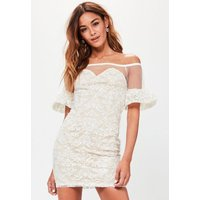 MissguidedWhite Bardot Frilled Sleeve Lace Bodycon Dress, White