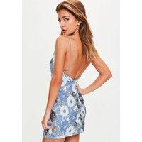 MissguidedBlue Strappy Floral Jaquard Bodycon Dress, Blue