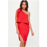 MissguidedRed Crepe One Shoulder Bow Sleeve Midi Dress, Red