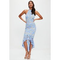 MissguidedBlue Corded Lace Fishtail High Neck Dress, Blue