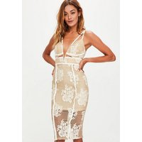 MissguidedNude Lace Plunge Cut Out Midi Dress, Beige