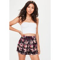 MissguidedPink Floral Check Print Shorts, Pink