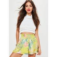 MissguidedYellow Floral Print Sheered Waist Shorts, Multi
