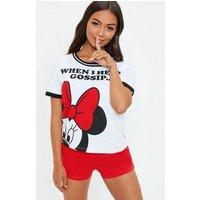 top con short Minnie Mouse en blanco