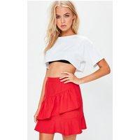 Red Ruffle Mini Skirt, Red
