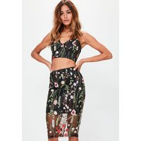 MissguidedPremium Black Floral Embroidered Mesh Midi Skirt, Multi