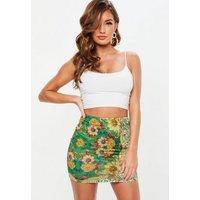 MissguidedGreen Floral Print Slinky Mini Skirt, Green