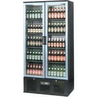 Infrico Upright Back Bar Cooler with Hinged Doors in Black and Steel ZXS20
