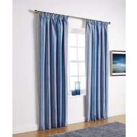 Essentials Florence Cobalt Stripe Eyelet Curtains 270cm Width x 183cm Drop