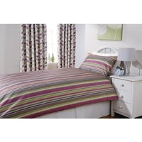Essentials Florence Eyelet Curtains Damson Stripe 270 x 183cm