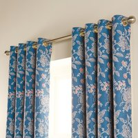 Luxury Chatsworth Eyelet Curtains Petrol 270cm Width x 229cm Drop