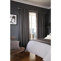 Luxury Deco Eyelet Curtains Ebony Shard 200 x 183cm