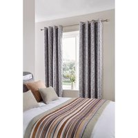 Luxury Fiorella Eyelet Curtains Graphite 270 x 152cm