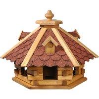 6-eckiges Vogelhaus Rustikal mit rotem Bitumendach
